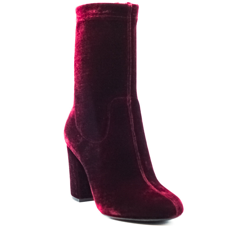 Yieldings Discount Shoes Store's Alyssa Block Heel Boots by Kenneth Cole in Wine