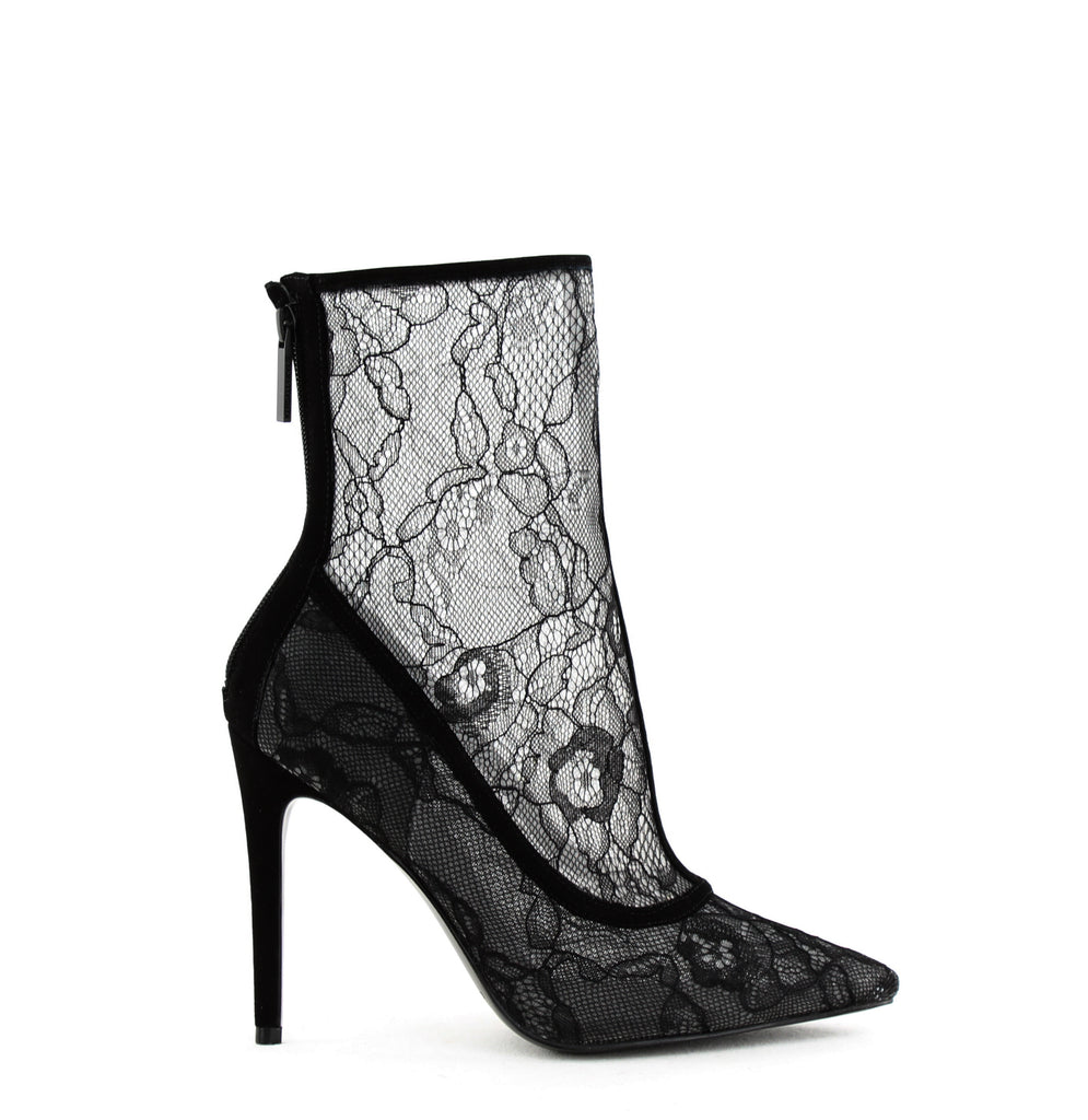 Yieldings Discount Shoes Store's Alanna 3 Lace Ankle Boots by Kendall + Kylie in Black Multi Fabric