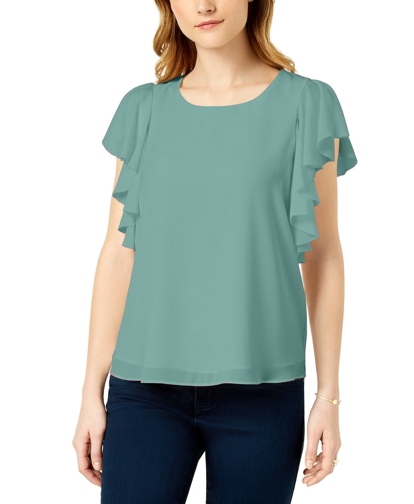 Yieldings Discount Clothing Store's Macaroon Ruffled Top by Maison Jules in Silver Sage