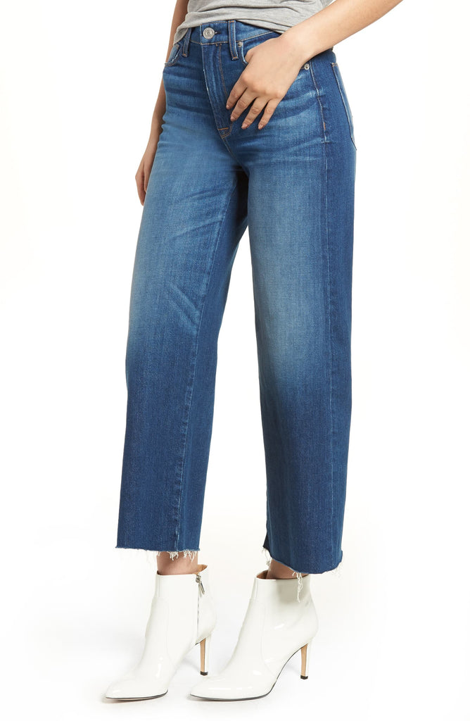 Yieldings Discount Clothing Store's Holly Own It High-Rise Wide Crop Jeans by Hudson in Blue