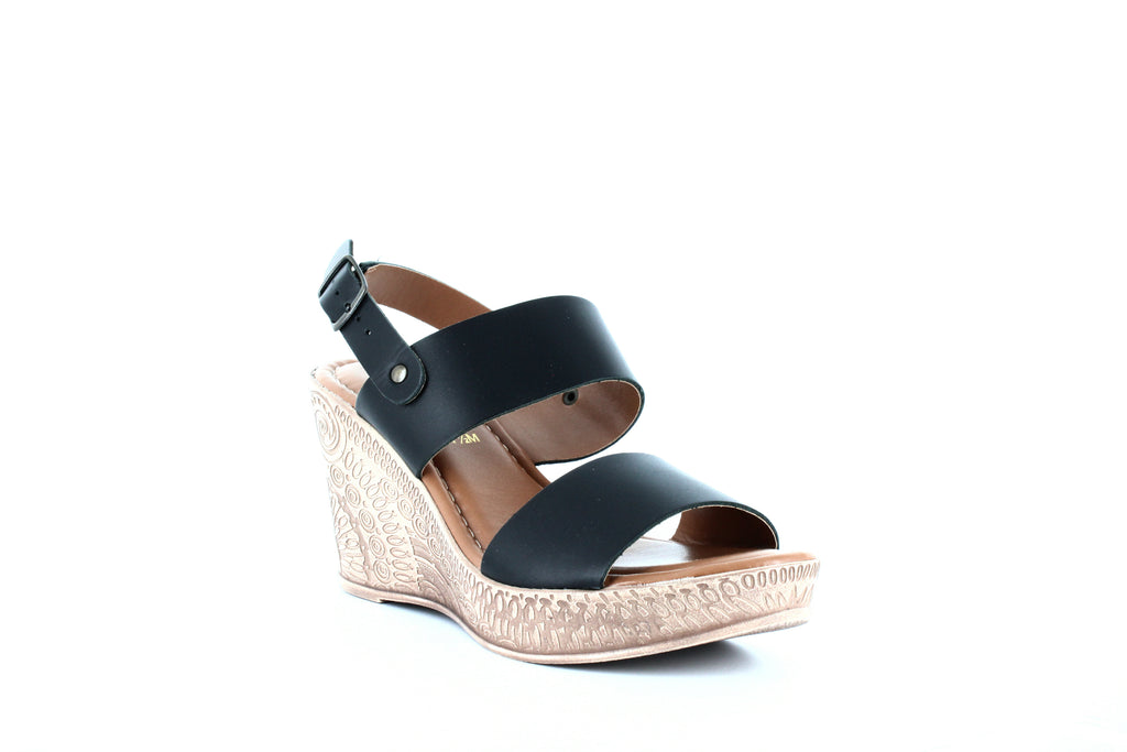 Yieldings Discount Shoes Store's Cor-Italy Wedge Sandals by Bella Vita in Black Leather