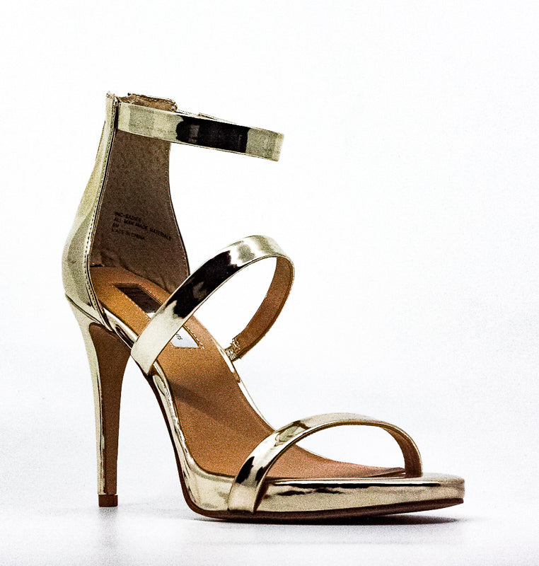 Yieldings Discount Shoes Store's Sadiee Metallic Strappy Heel Sandals by INC in Gold