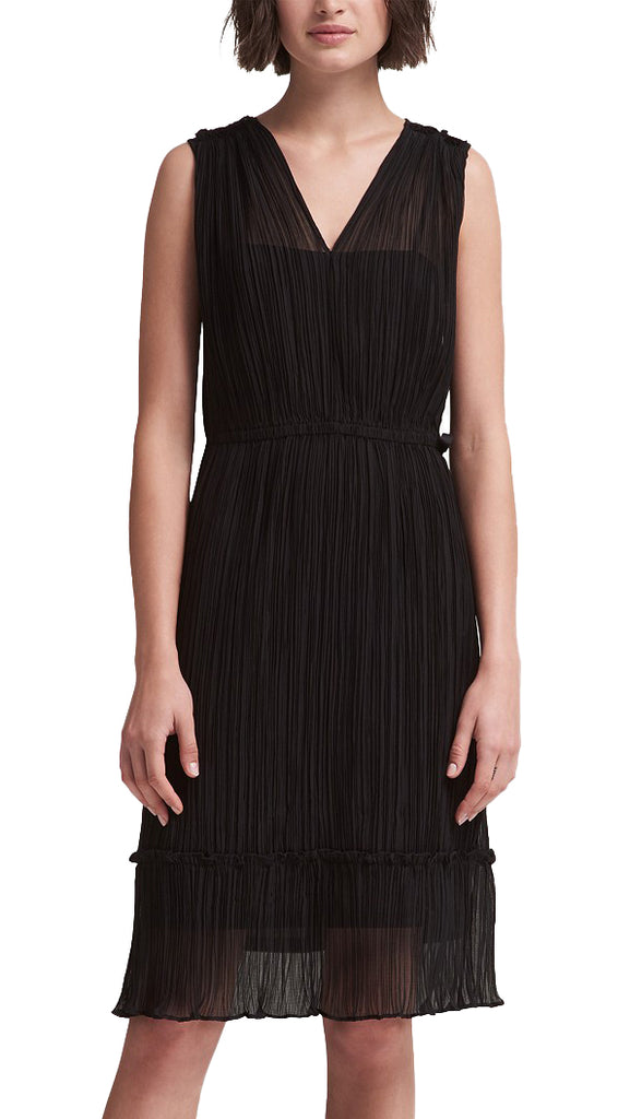 Yieldings Discount Clothing Store's Sleeveless Pleated Wrap Dress by DKNY in Black