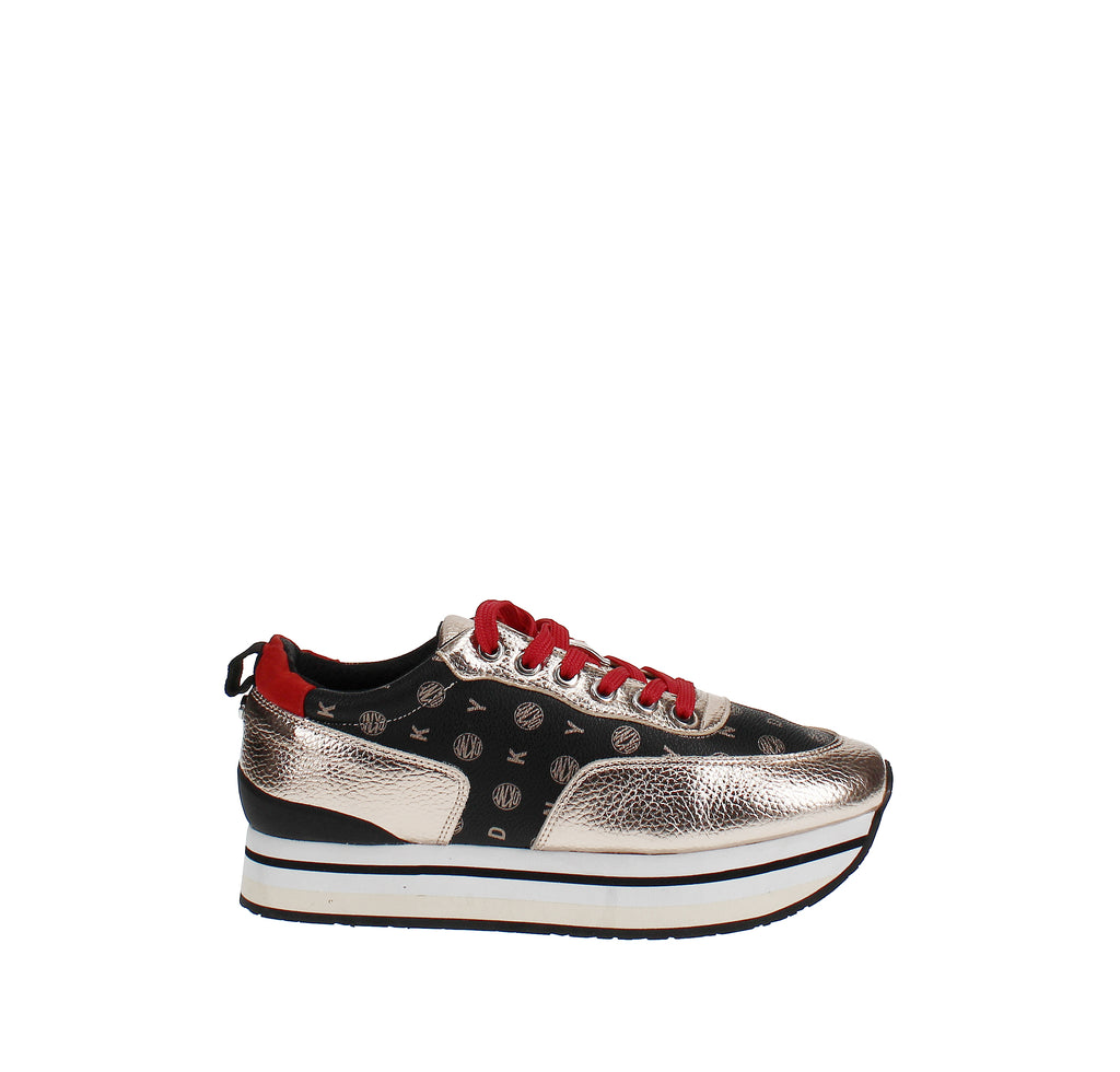 Yieldings Discount Shoes Store's Poly Lace Up Sneakers by DKNY in Metallic Rose