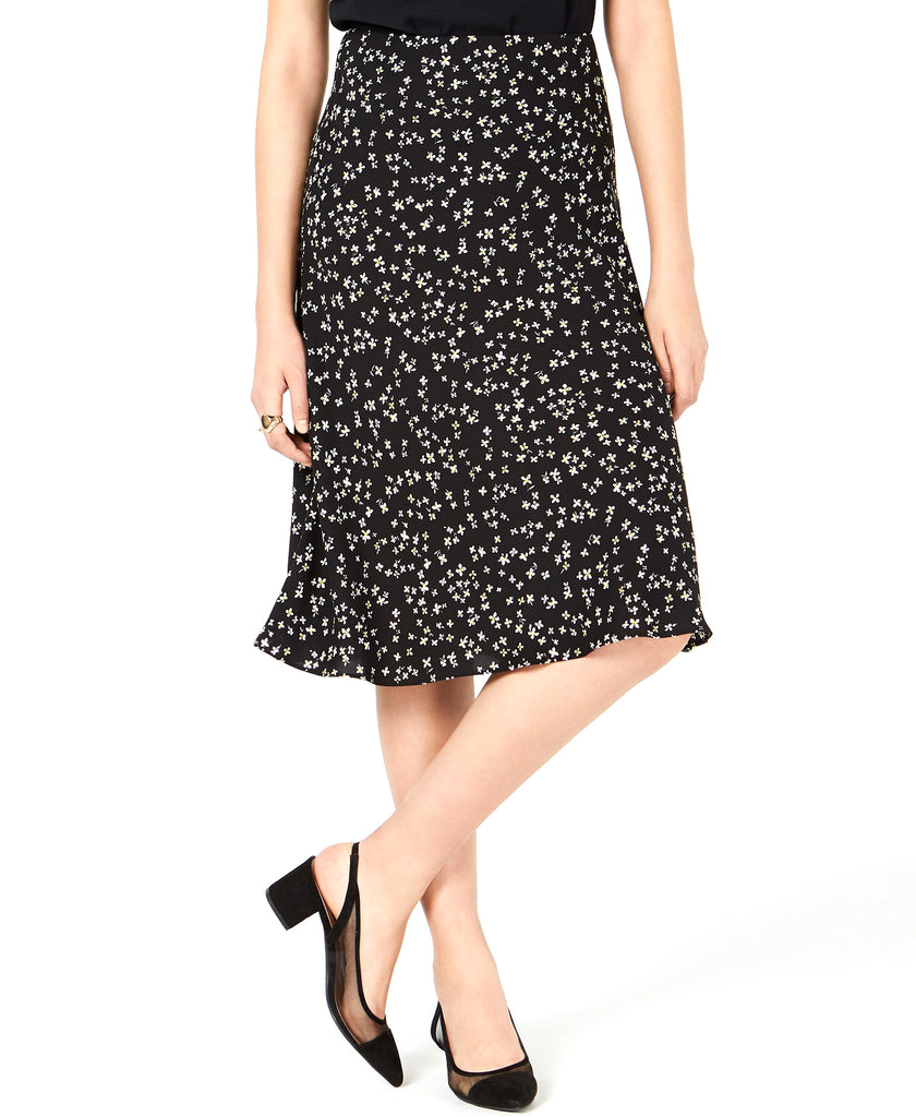 Yieldings Discount Clothing Store's Floral-Print Midi Skirt by Bar III in Black Mod Ditsy