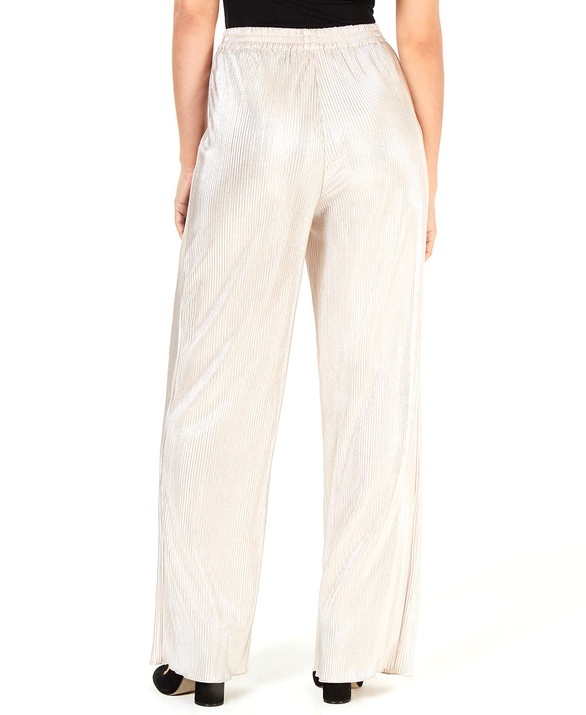 Yieldings Discount Clothing Store's Silver Pleated Wide Leg Pants by Leyden in Mettallic Silver