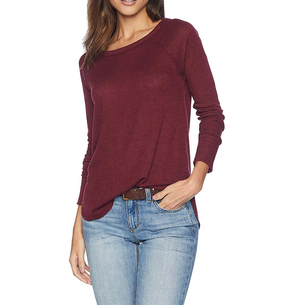 Yieldings Discount Clothing Store's Rib Mix Dolman Pullover Thermal Sweater by Lucky Brand in Maroon