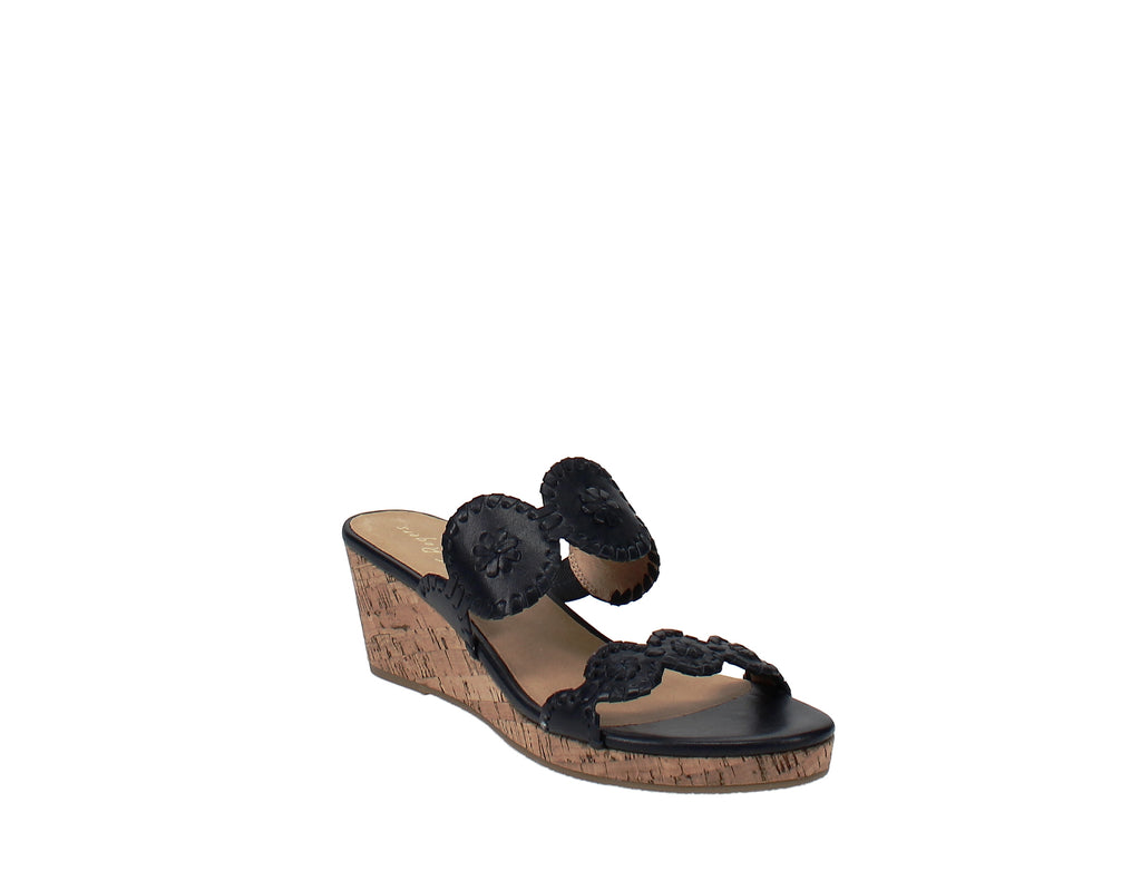 Yieldings Discount Shoes Store's Lauren Wedge Sandals by Jack Rogers in Navy Blue