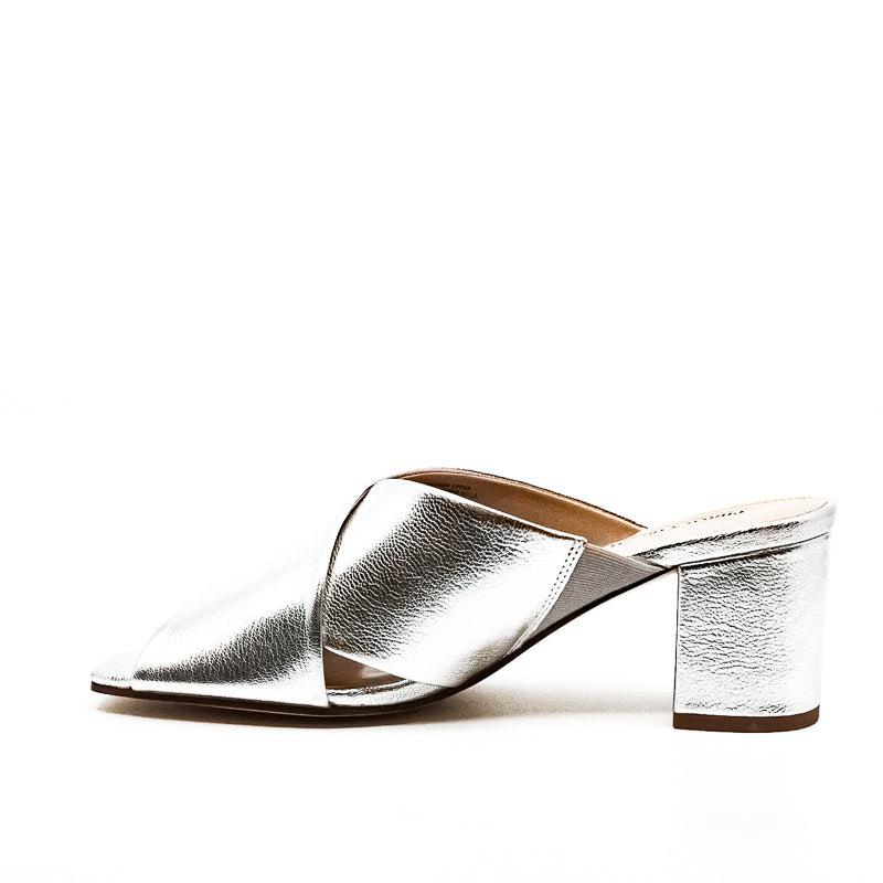 Yieldings Discount Shoes Store's Crissaly Leather Heel Sandals by Charles David in Silver Metallic
