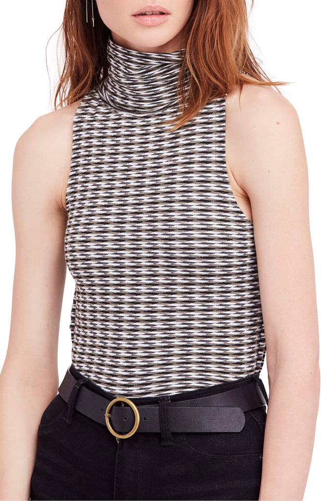 Yieldings Discount Clothing Store's Printed Sleeveless Turtleneck by Free People in Moss