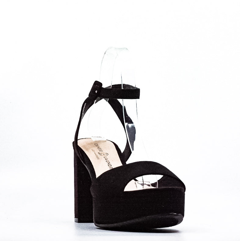 Yieldings Discount Shoes Store's Trixi Microsuede Platform Sandals by Chinese Laundry in Black