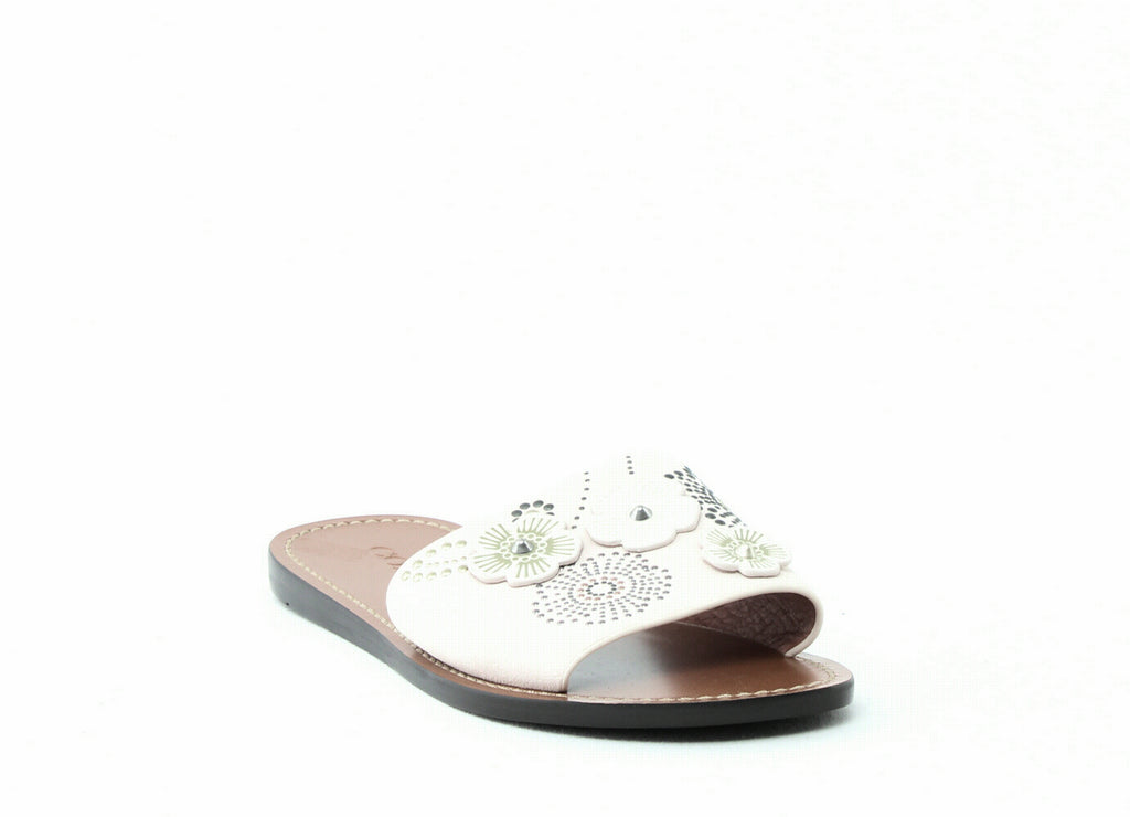 Yieldings Discount Shoes Store's Tea Rose Rivet Slides by Coach in Chalk Suede