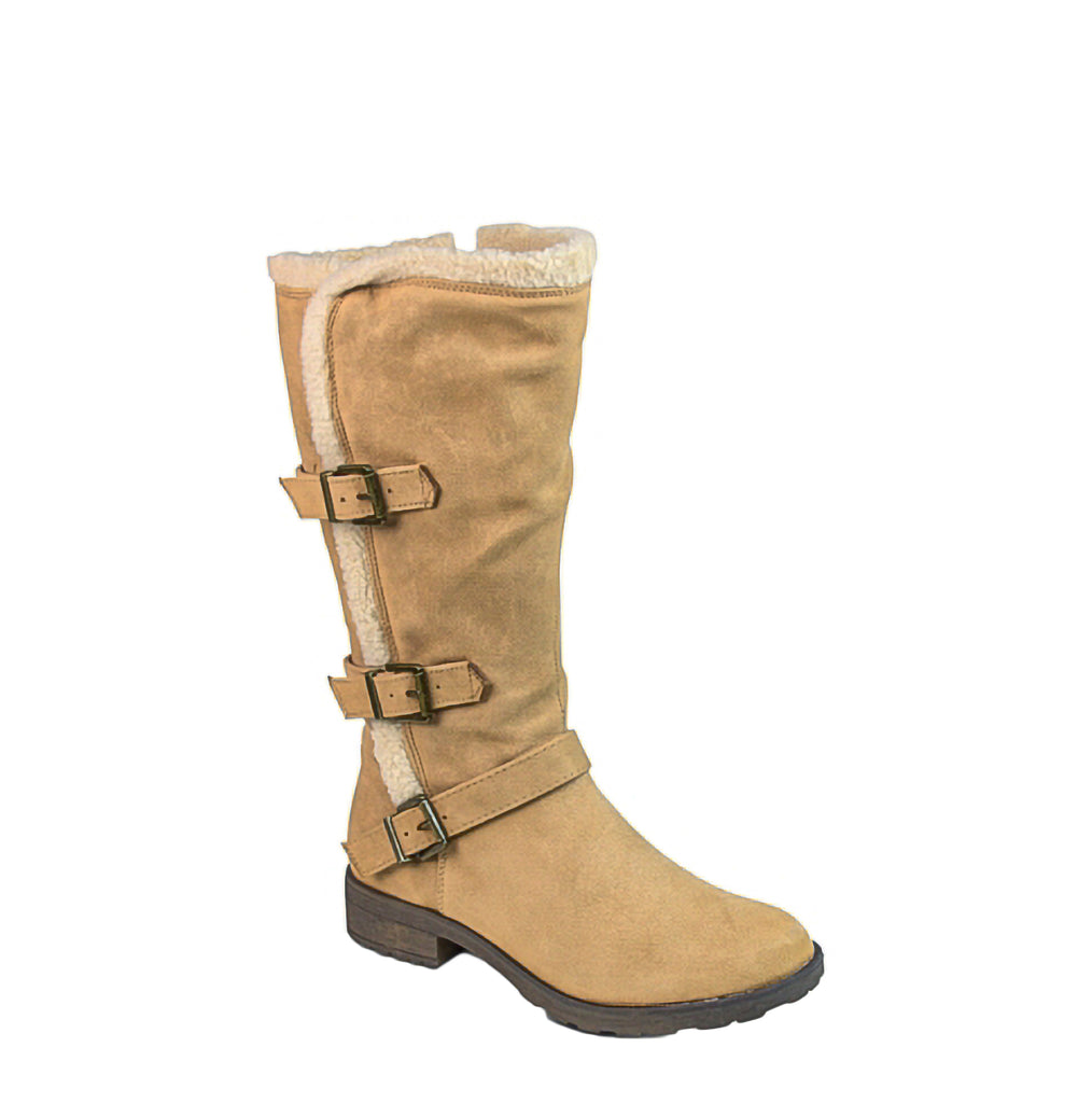 Yieldings Discount Shoes Store's Santell Tall Buckle Boot by White Mountain in Chestnut