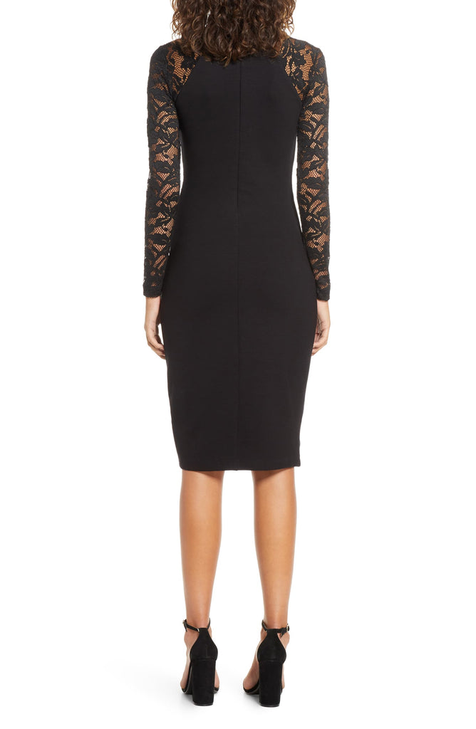 Yieldings Discount Clothing Store's Lace-Trim Bandage Dress by French Connection in Black
