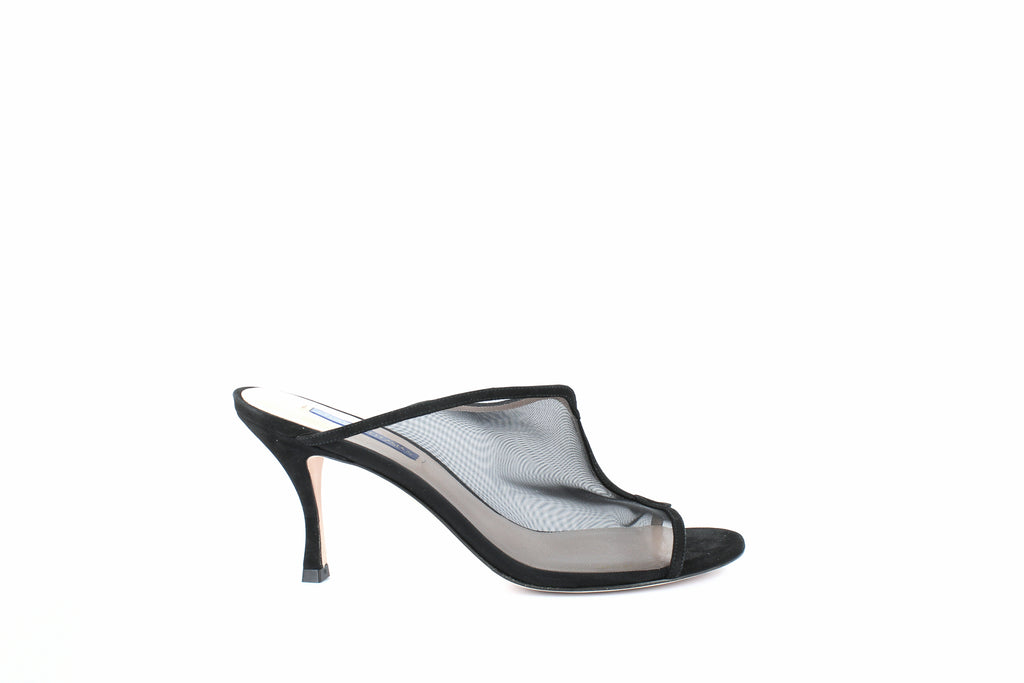 Yieldings Discount Shoes Store's Mya Sandals by Stuart Weitzman in Black Suede