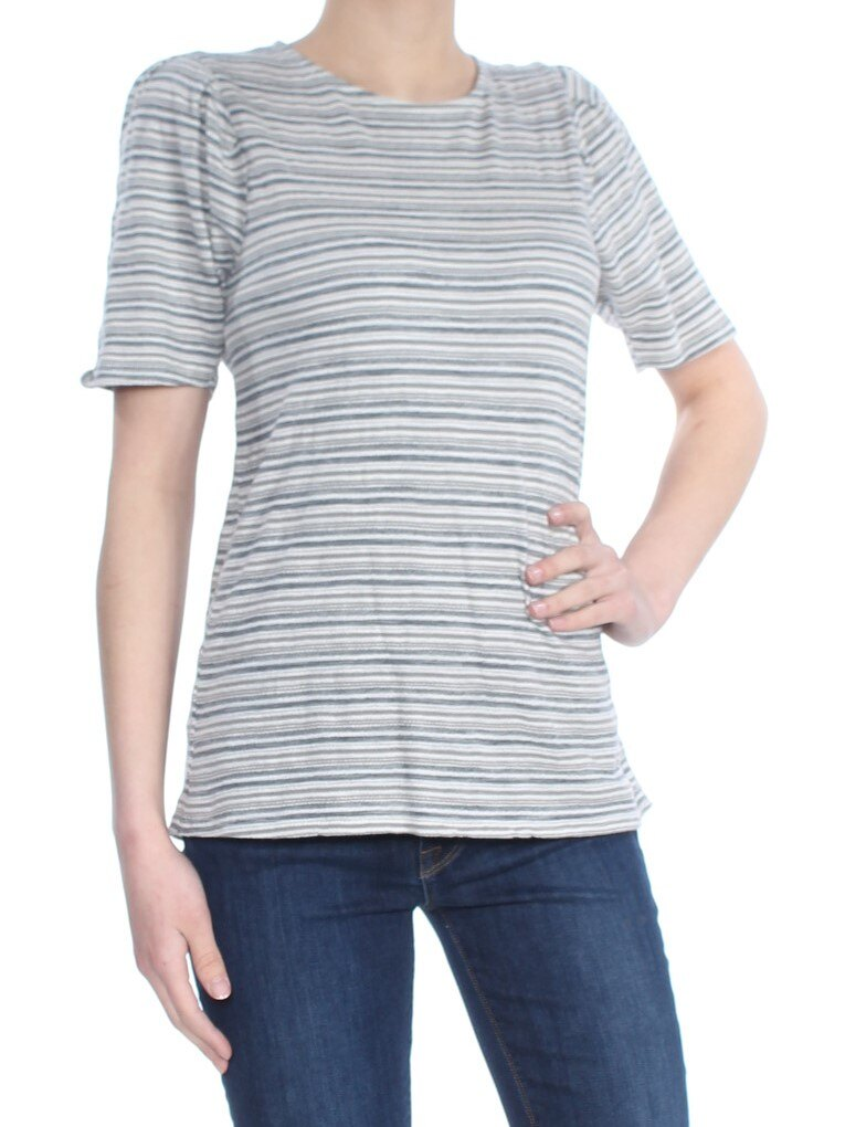 Yieldings Discount Clothing Store's Stripe Puff Sleeve Top by Lucky Brand in Gray/Blue