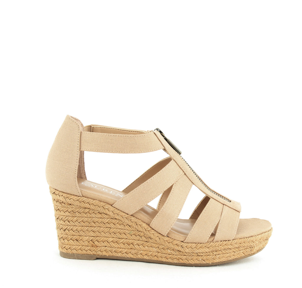 Yieldings Discount Shoes Store's Kelcie Wedge Sandals by Lauren by Ralph Lauren in Sand