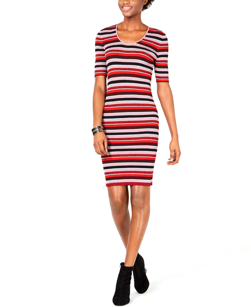 Bar III | Metallic Striped Sweater Dress