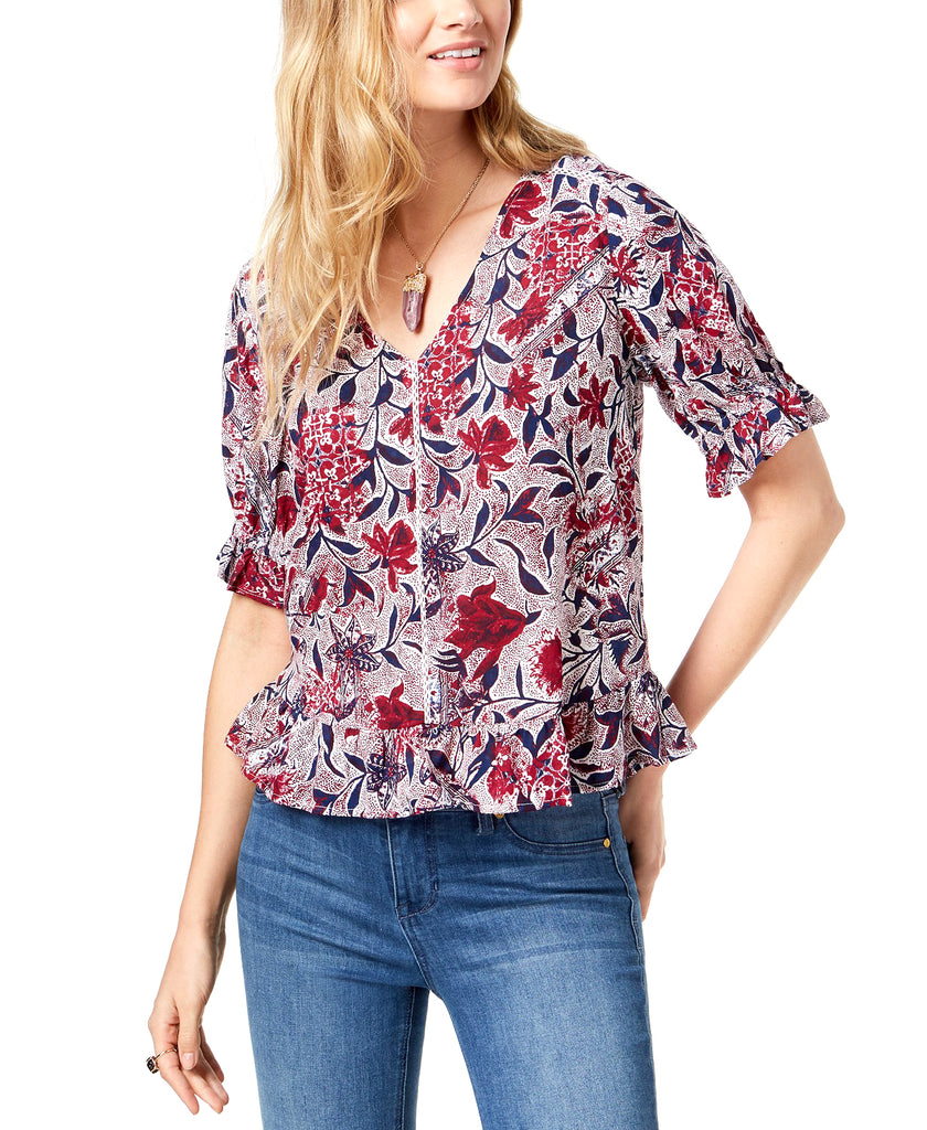 Yieldings Discount Clothing Store's Puff-Sleeve Printed Top by Lucky Brand in Raspberry