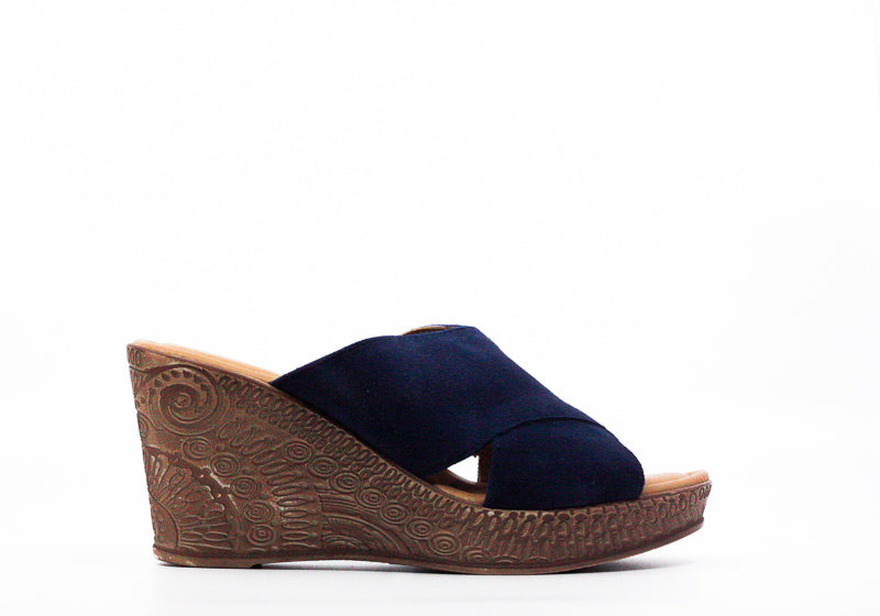 Yieldings Discount Shoes Store's Edi-Italy Suede Wedges by Bella Vita in Navy