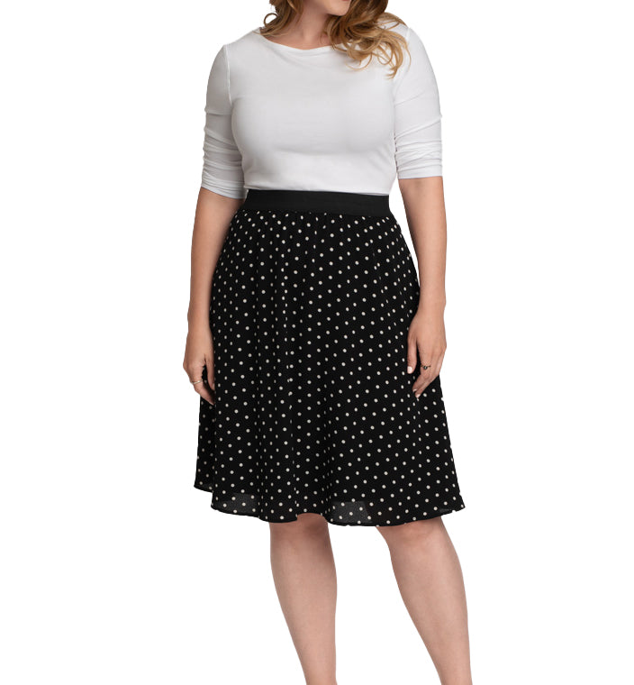 Yieldings Discount Clothing Store's Boardwalk Bliss Skirt by Kiyonna in Do the Polka