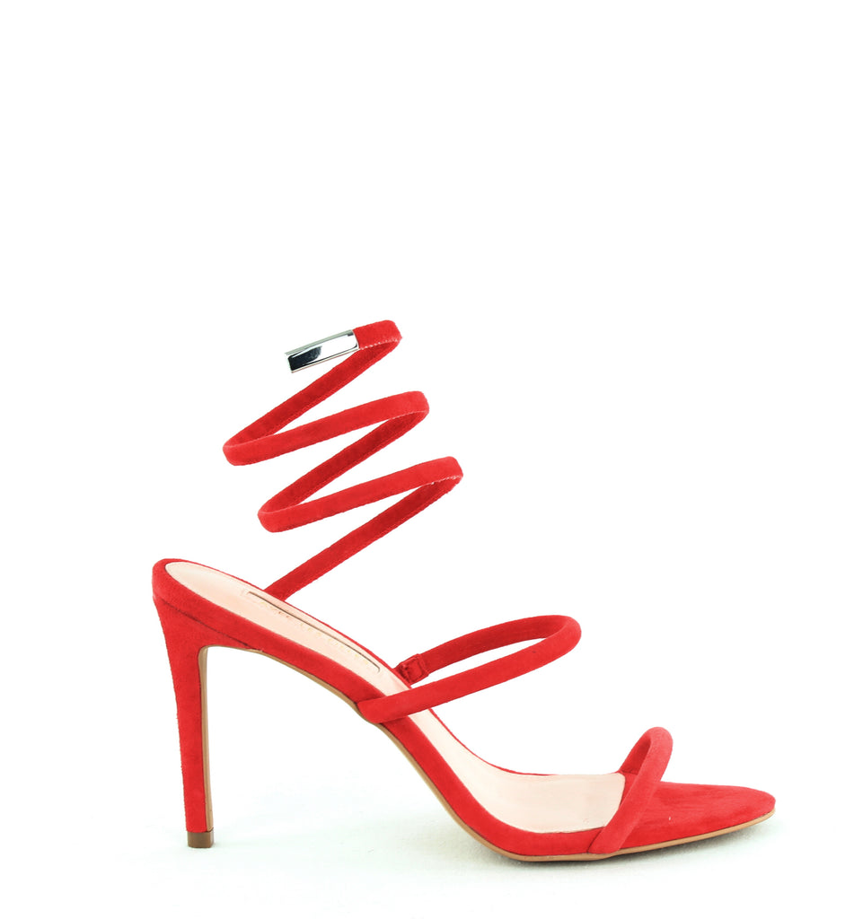 Yieldings Discount Shoes Store's Joia Heeled Sandals by Avec Les Filles in Rouge Kid Suede