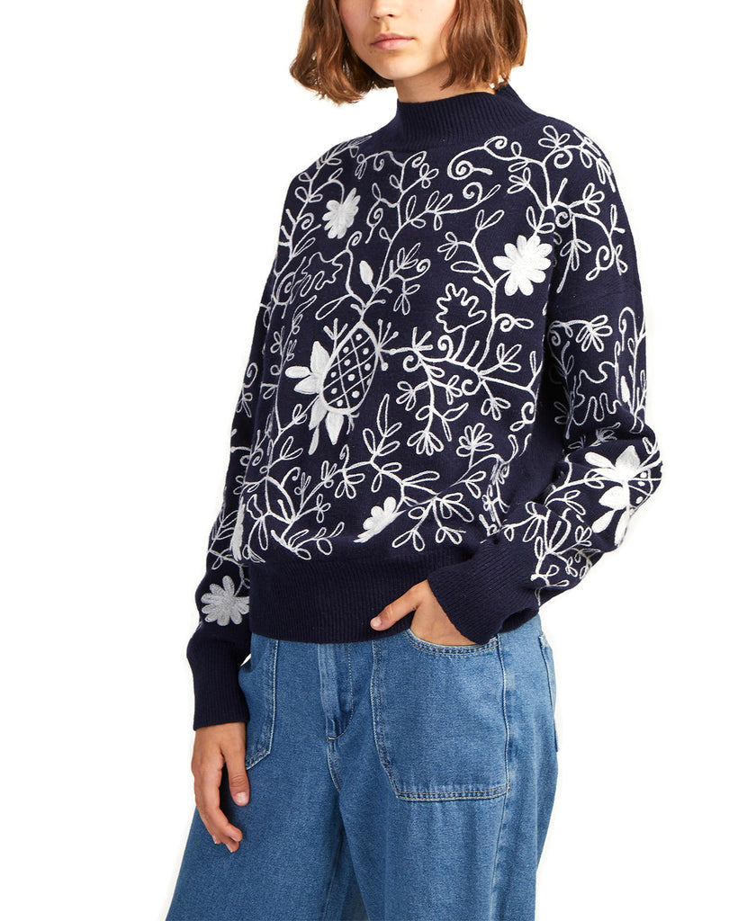 Yieldings Discount Clothing Store's Sacha Embroidery Knits Sweater by French Connection in Blue/White