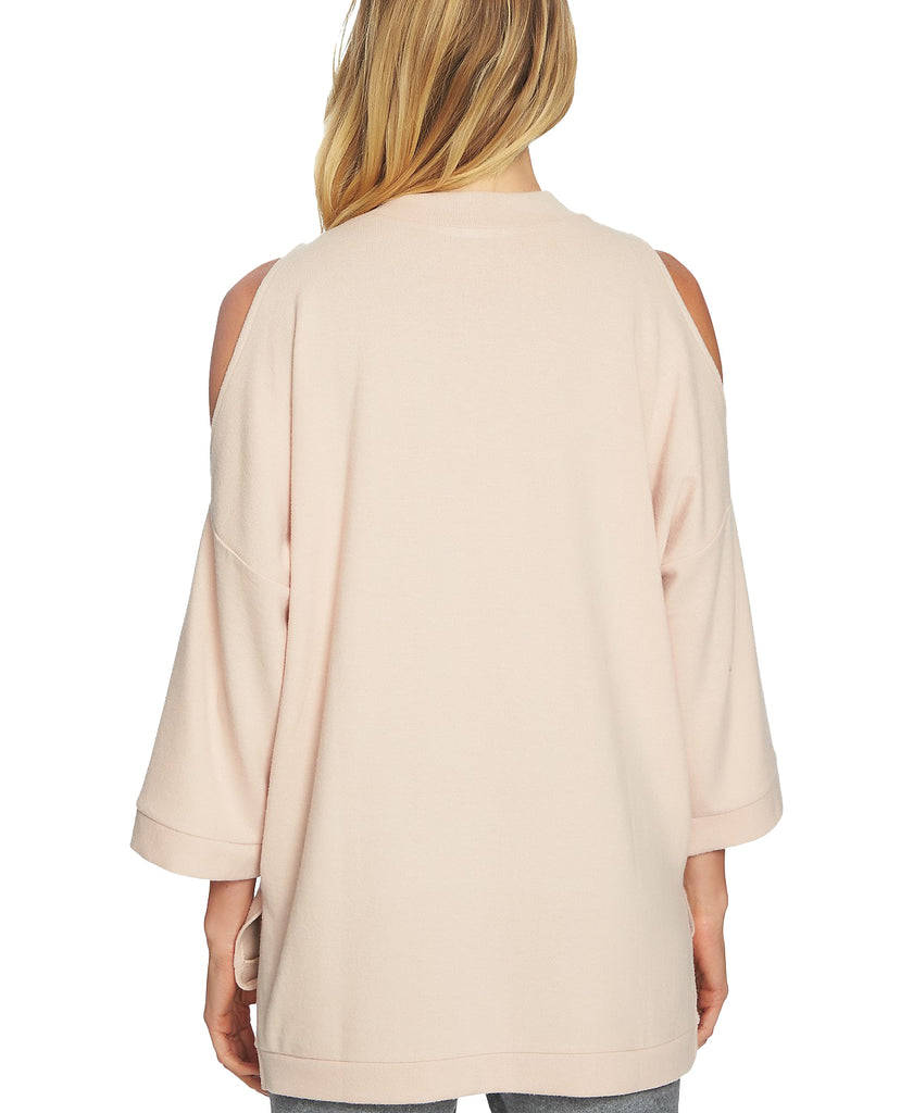 Yieldings Discount Clothing Store's Cozy 3/4 Length Sleeve Cold Shoulder Top by 1.State in Blush Frost
