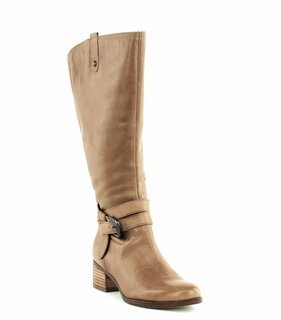 Yieldings Discount Shoes Store's Dev Wide Calf Heeled Boots by Naturalizer in Oatmeal
