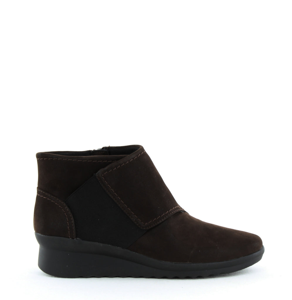 Yieldings Discount Shoes Store's Cadell Rush Booties by Cloudsteppers by Clarks in Dark Brown