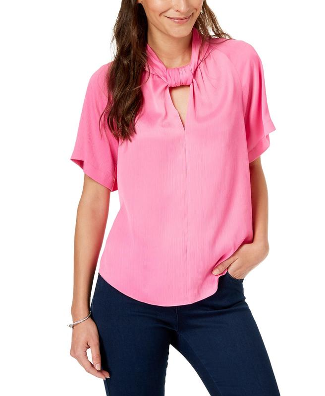 Yieldings Discount Clothing Store's Keyhole Twist-Neck Top by RACHEL Rachel Roy in Vivid Pink