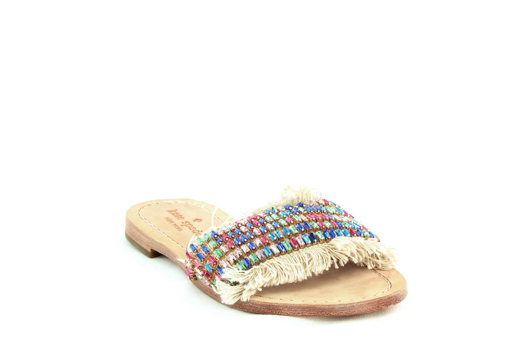 Yieldings Discount Shoes Store's Solaina Embellished Slide Sandals by Kate Spade in Natural