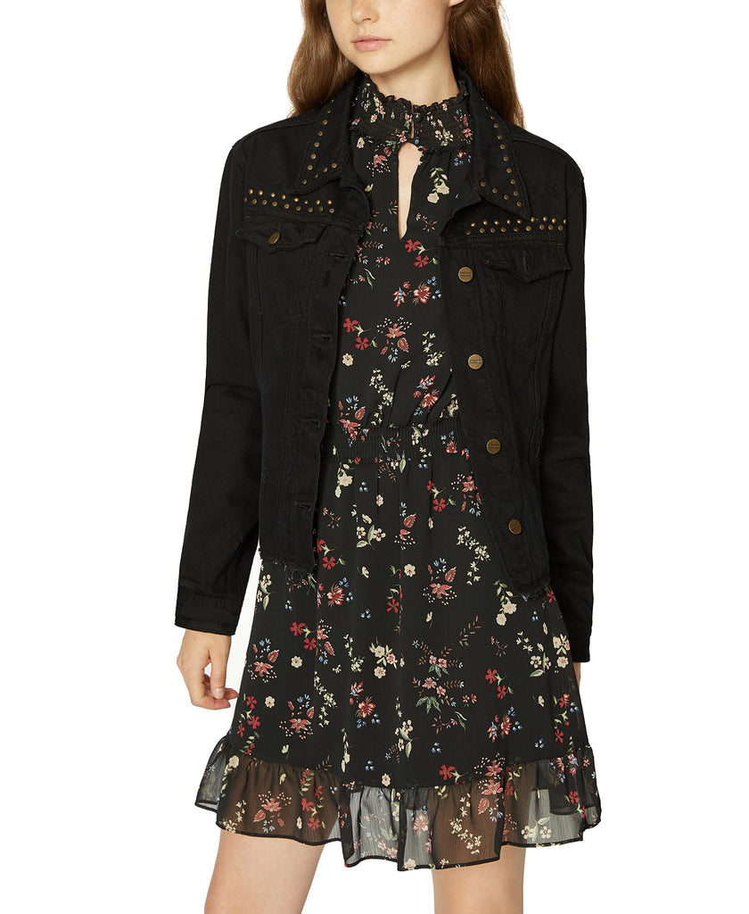 Yieldings Discount Clothing Store's Fierce Fall Studded Denim Jacket by Sanctuary in Black