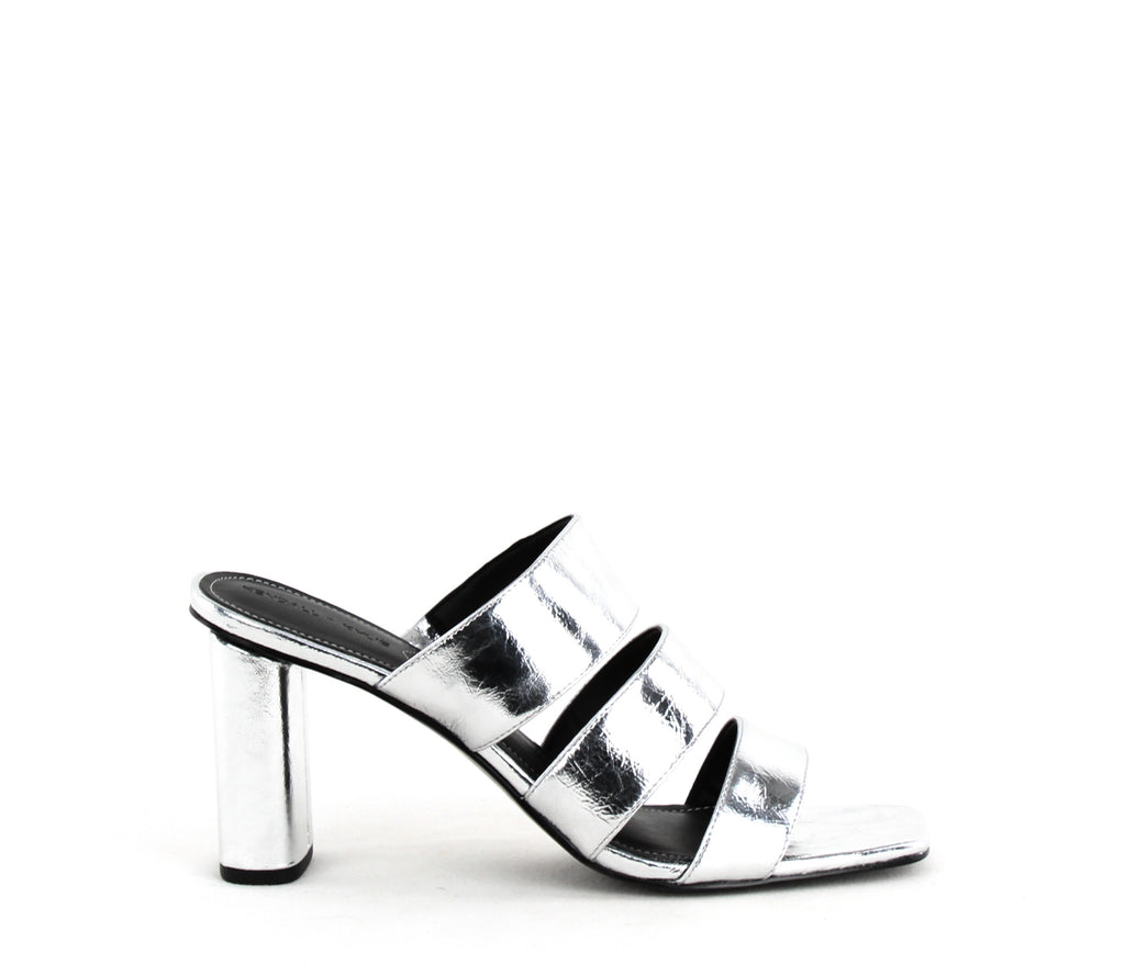 Yieldings Discount Shoes Store's Leila Block Heels by Kendall + Kylie in Silver Leather