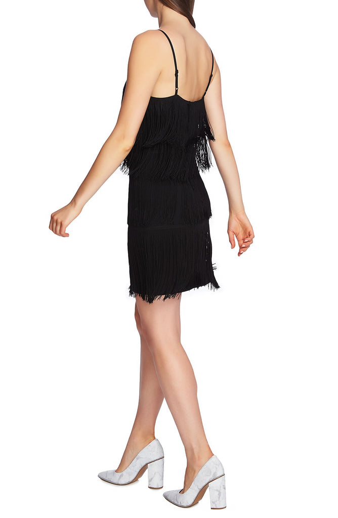 Yieldings Discount Clothing Store's Tiered Fringe Slip Dress by 1.State in Rich Black