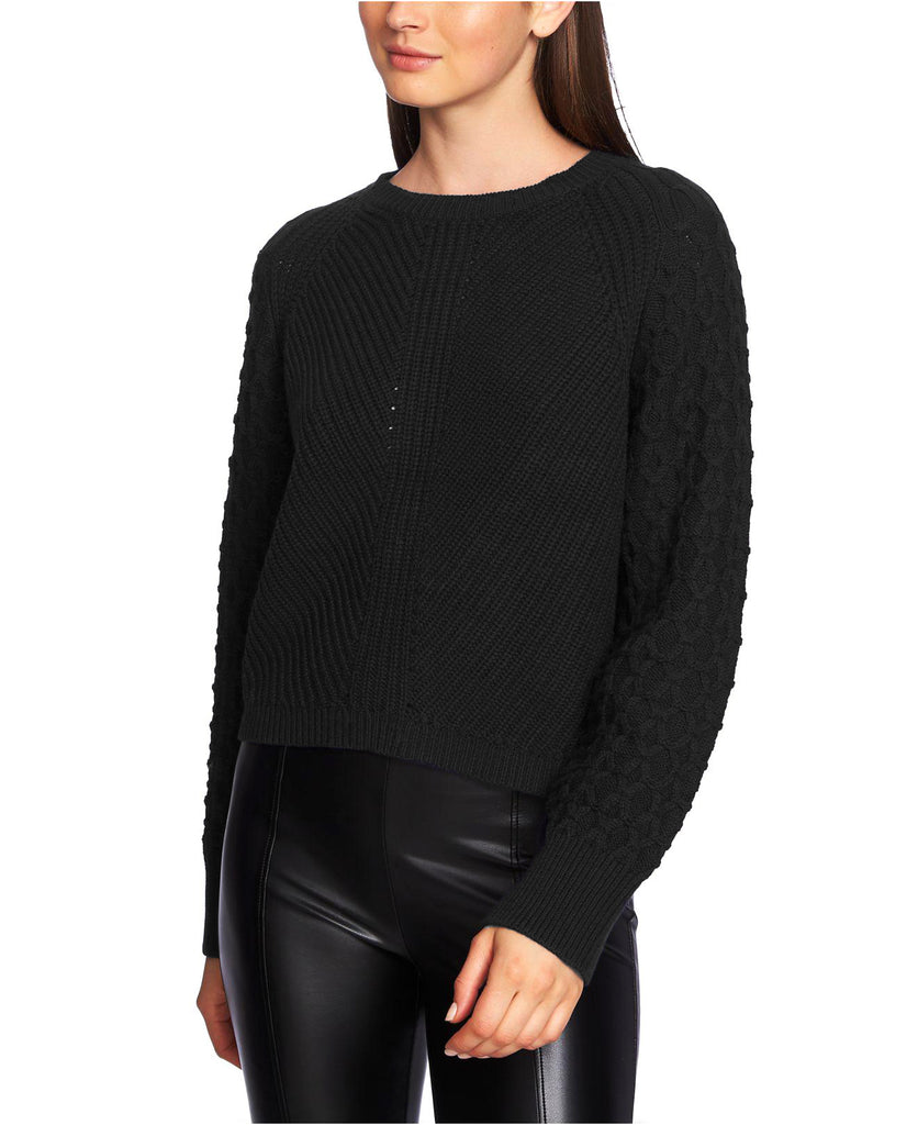 Yieldings Discount Clothing Store's Crewneck Textured-Sleeve Sweater by 1.State in Rich Black