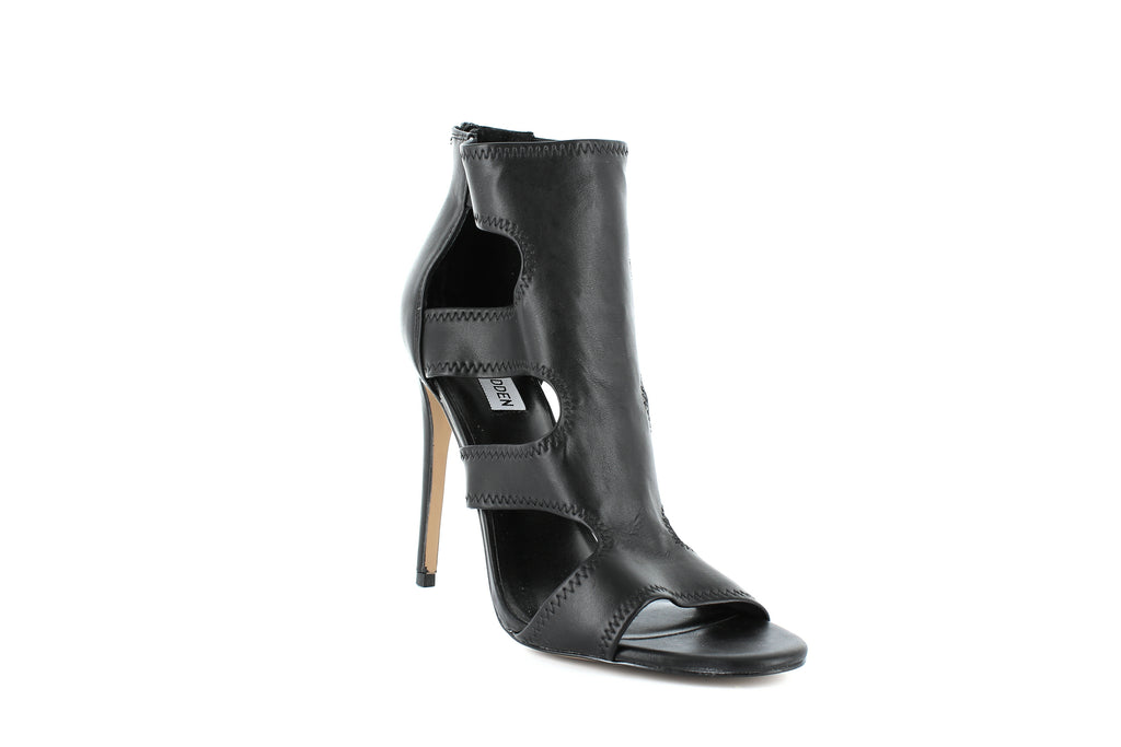 Yieldings Discount Shoes Store's Domm Open-Toe Booties by Steve Madden in Black