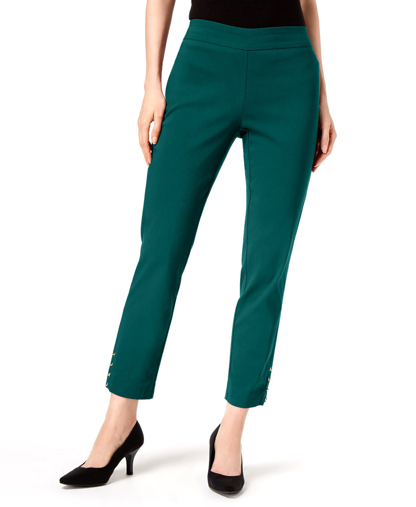 Yieldings Discount Clothing Store's Chain-Hem Ankle Pants by JM Collection in Forest Azure