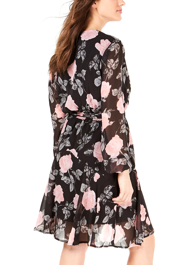 Yieldings Discount Clothing Store's Long Sleeve Jewel Rose Dress Rendezvous by Guess in Rose Black