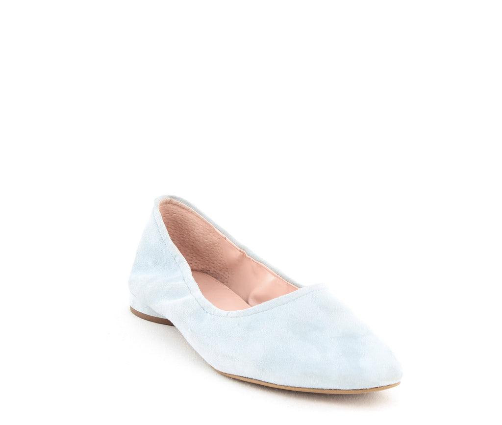 Yieldings Discount Shoes Store's Myrina Flats by Avec Les Filles in Robins Egg Suede