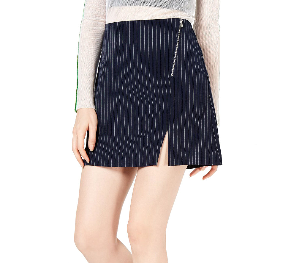 Yieldings Discount Clothing Store's Pinstriped Mini Skirt by Project 28 in Blue