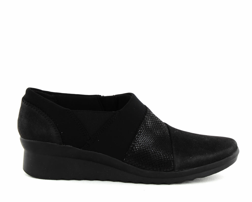 Yieldings Discount Shoes Store's Denali Wedge Slip-Ons by Cloudsteppers by Clarks in Black