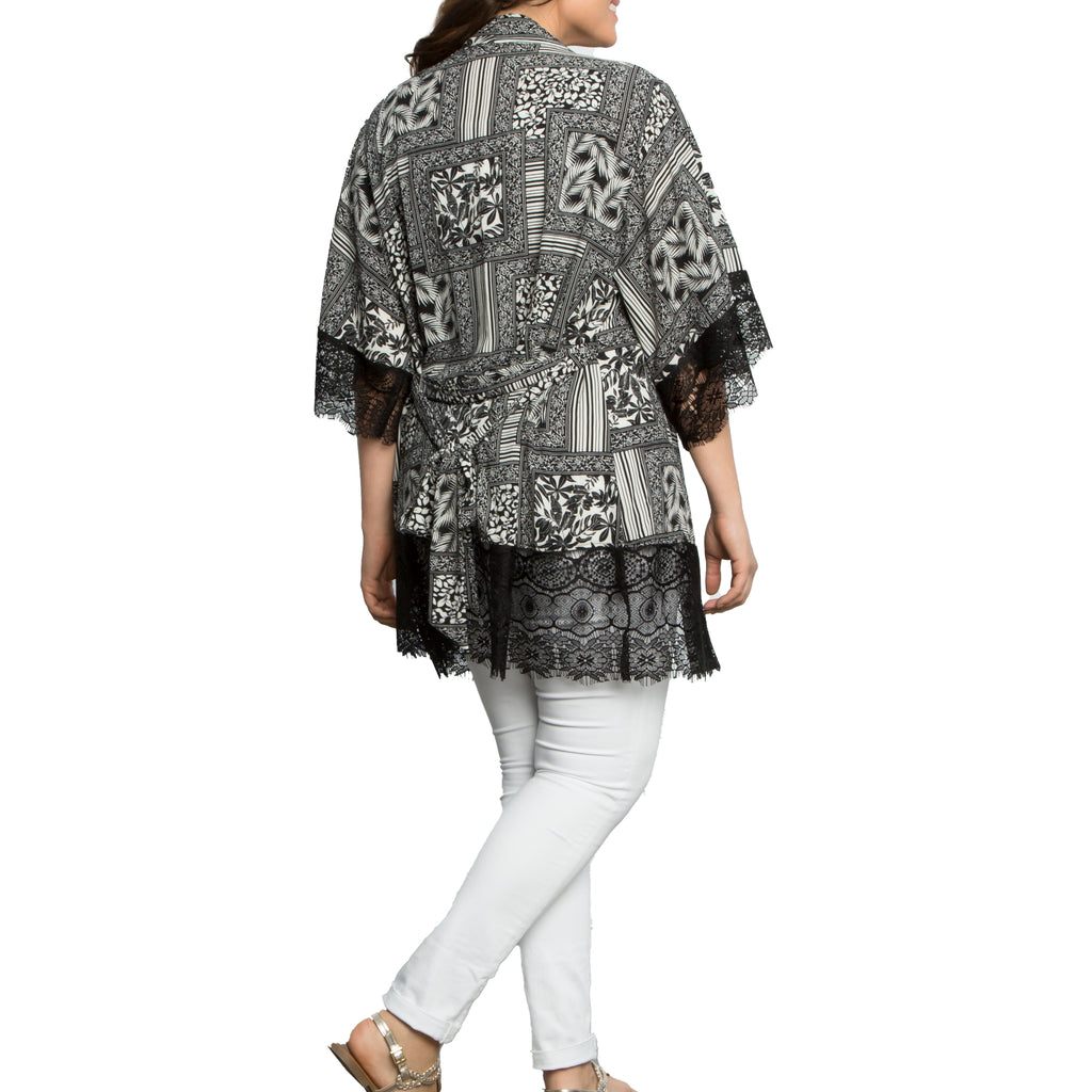 Yieldings Discount Clothing Store's Shayla Chiffon Kimono by Kiyonna in BPP