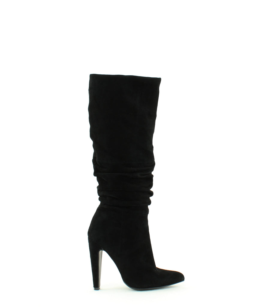 Yieldings Discount Shoes Store's Carrie Calf High Slouchy Boots by Steve Madden in Black Suede