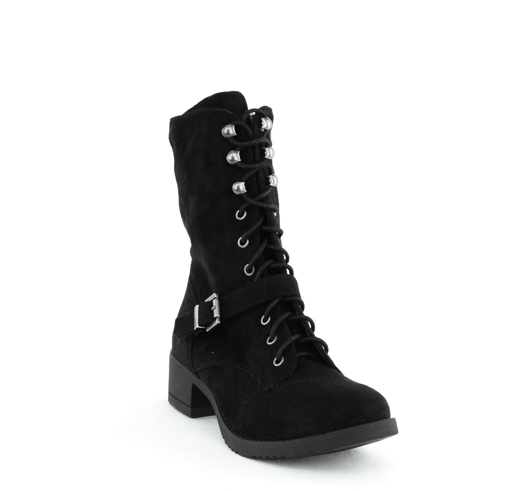 Yieldings Discount Shoes Store's Reighn Lace Up Combat Boots by American Rag Cie in Black
