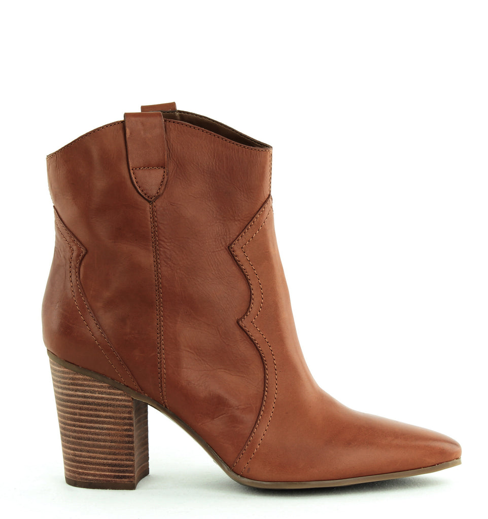 Yieldings Discount Shoes Store's Lincoln Square Western Ankle Boots by Aerosoles in Dark Tan Leather