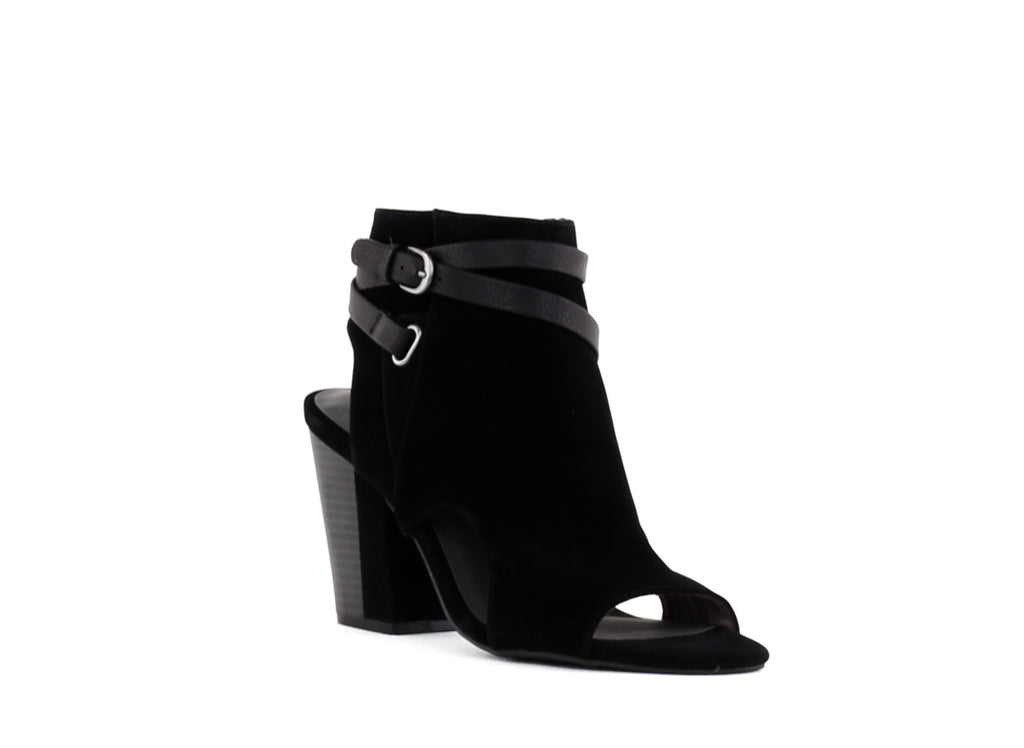 Yieldings Discount Shoes Store's Shira Block Heel Booties by White Mountain in Black
