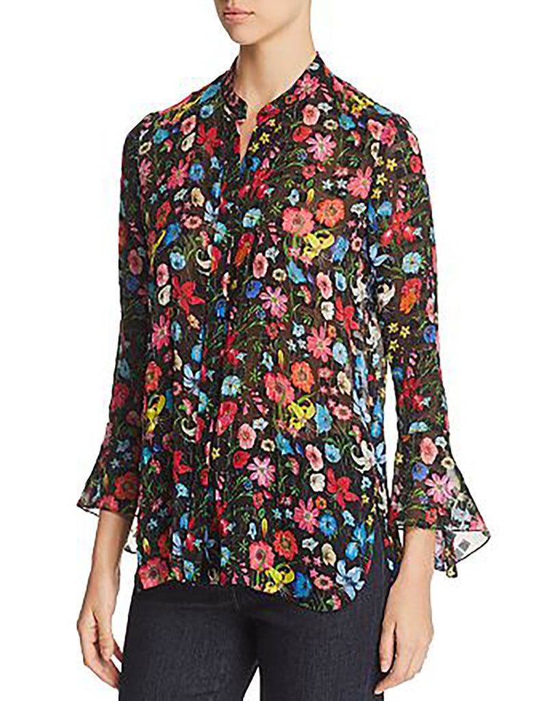 Yieldings Discount Clothing Store's Chava Textured Floral Blouse by Elie Tahari in Black Multi