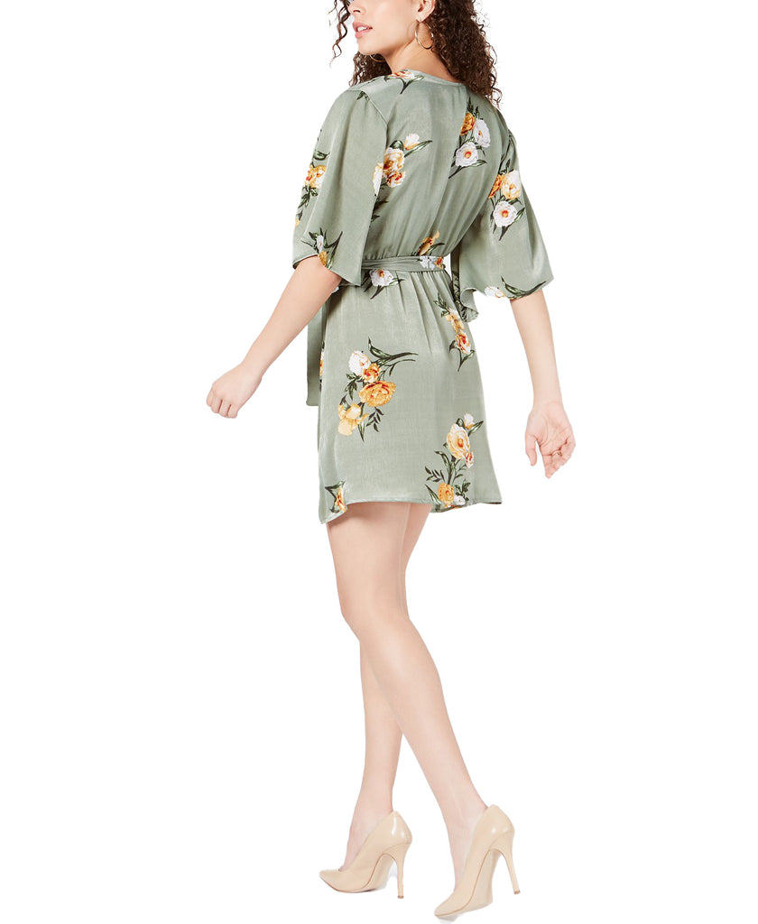 Yieldings Discount Clothing Store's Printed Belted A-Line Dress by Project 28 NYC in Olive Floral Print
