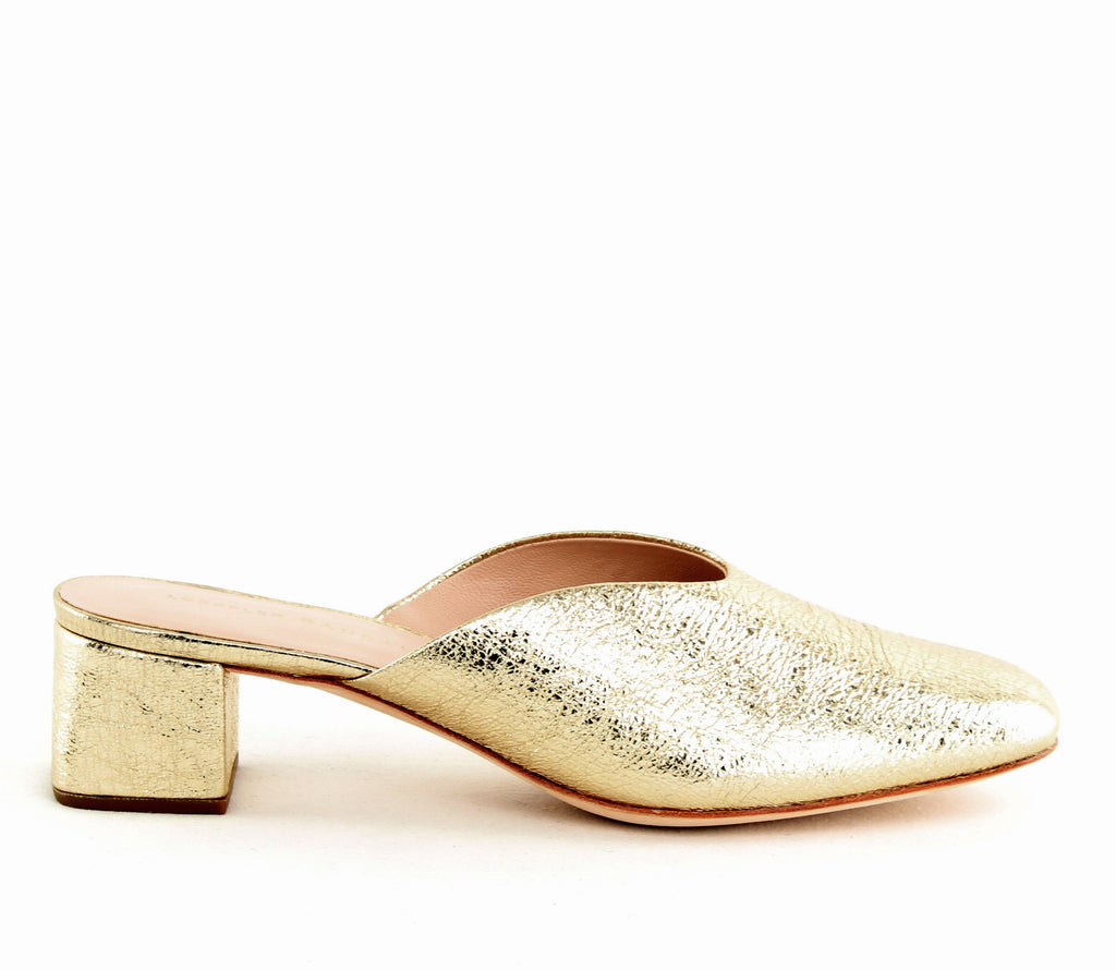 Yieldings Discount Shoes Store's Lulu Metallic Leather Mules by Loeffler Randall in Champagne